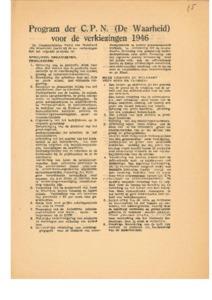 Program der C P N  (De Waarheid) voor de verkiezingen 1946